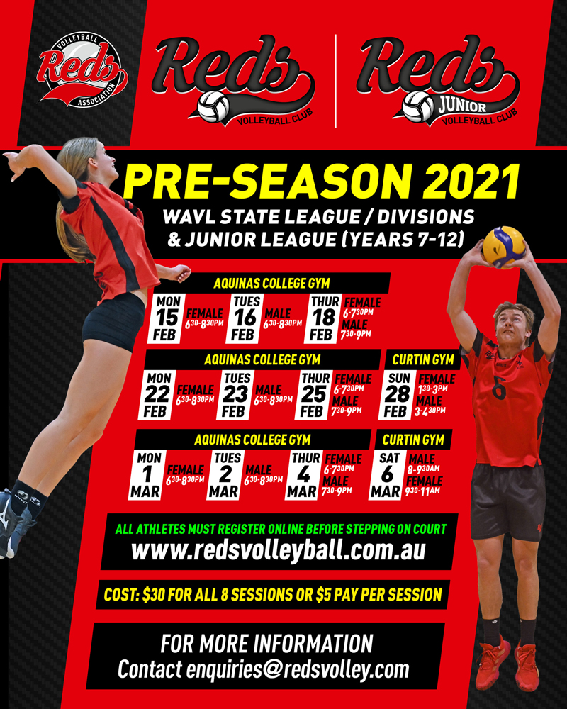 Pre-Season Sessions for State League, Divisions and Junior League